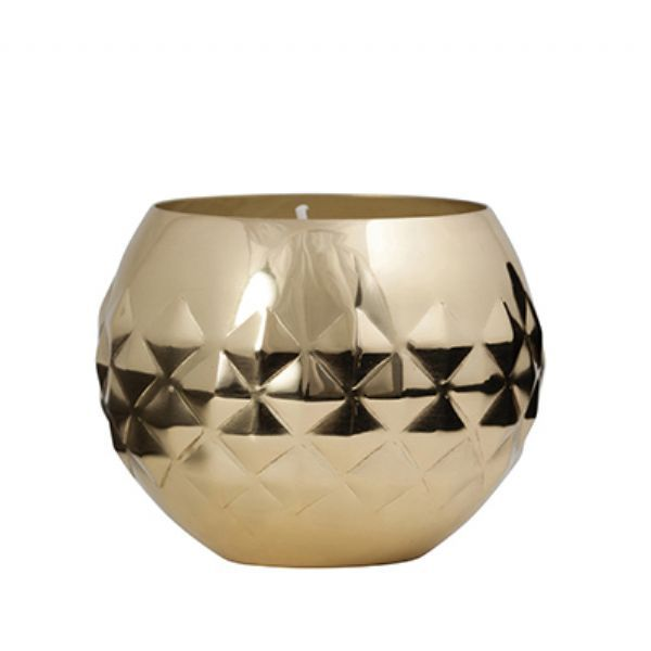 General Eclectic Diamond Votive & Wax - Brass