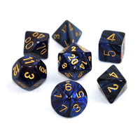 Chessex Signature Polyhedral Dice Set Scarab Royal Blue/Gold image