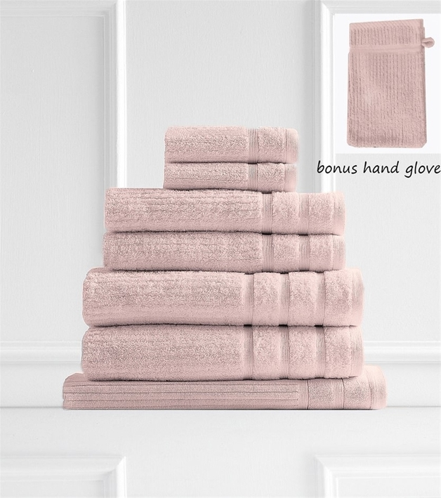 Royal Comfort: Eden Egyptian Cotton 8 Piece Towel Pack - Blush