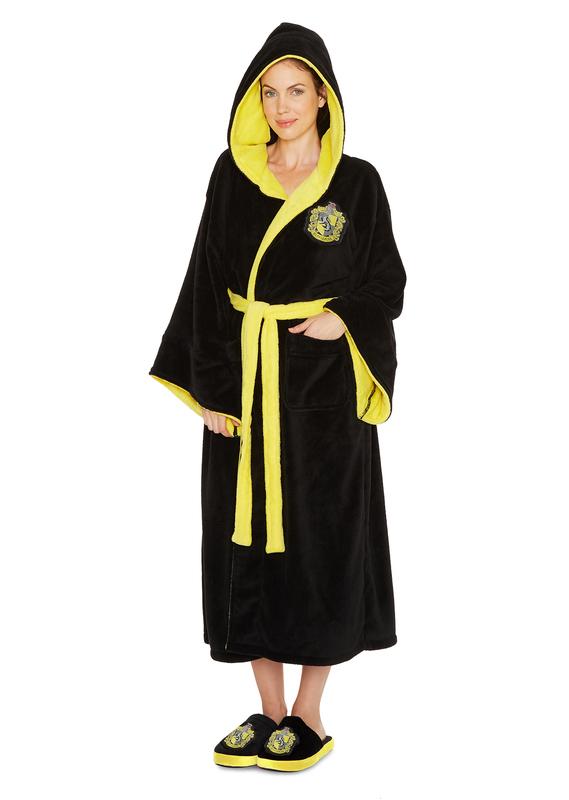 Harry Potter: Hufflepuff Fleece Robe - Black & Yellow Ladies (One Size)