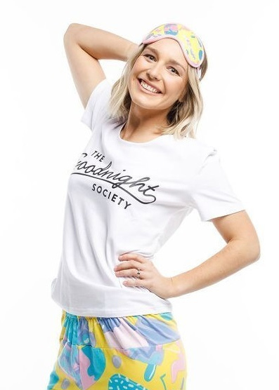 The Goodnight Society: Short Sleeve Tee Logo Print (White) - XS
