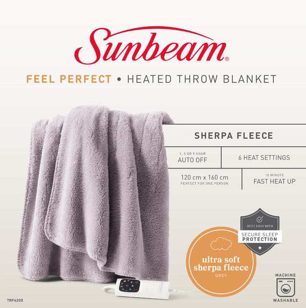 Sunbeam: Feel Perfect Cosy Sherpa Fleece Heated Throw Rug - Warm Grey