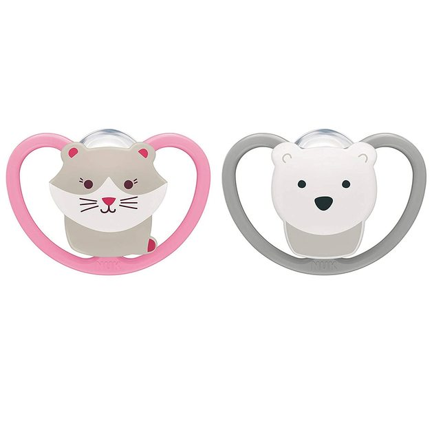 NUK: Space Silicone Soothers Cat/Polar Bear - 18-36mths (2pk)