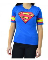 DC Comics - Superman Logo Junior Woman's Royal Hockey Top (Large)