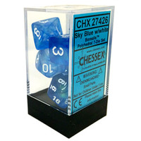 Chessex Signature Polyhedral Dice Set Sky Blue/White Borealis