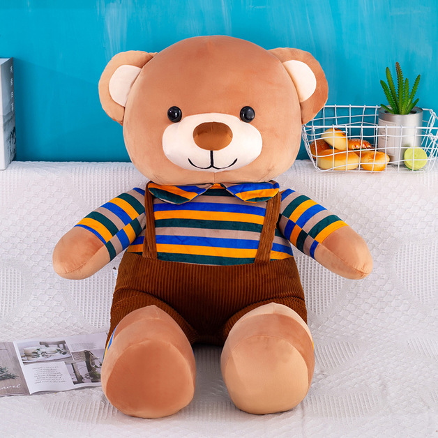 Teddy Bear in Brown Overalls Plush