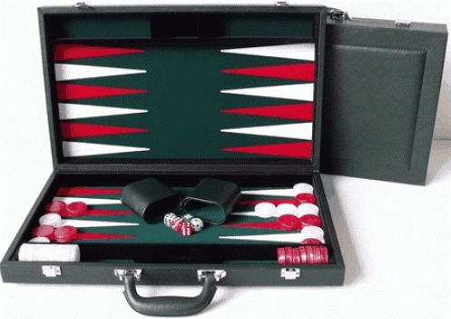 "Dal Rossi Backgammon 18"" PU Leather - Green"