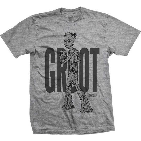Avengers Infinity War Teen Groot Colour Mens Grey TS: Small