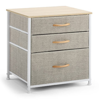 Ovela: 3 Drawer Nightstand Bedside Table - Beige