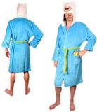 Adventure Time Finn the Human Blue Hooded Bath Robe