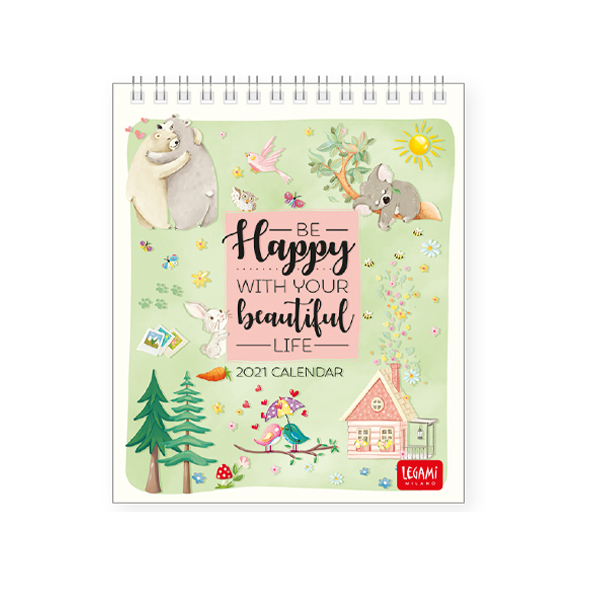 Legami: Live Happy 2021 Desk Calendar (12 x 14.5 cm)