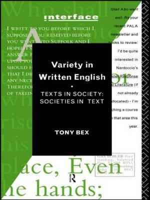 Variety in Written English by Tony Bex image