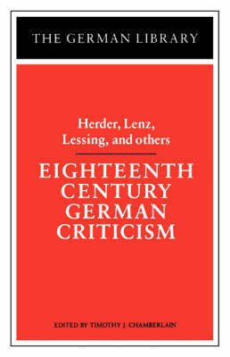 Eighteenth Century German Criticism by Lenz Herder image