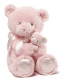 Gund: Mum & Baby Bear - Plush Rattle (Pink)