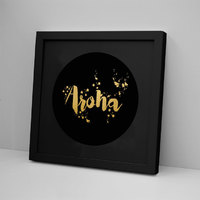 Aroha Black on Black Foli Print - Framed