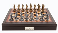 """Dal Rossi: Medieval Warriors - 18"""" Pewter Chess Set (PU Brown)"""