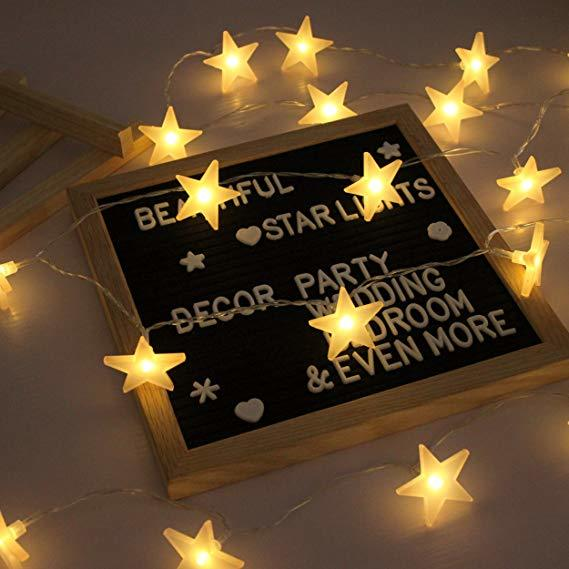 Soft Glow Frosted Star String Lights (30 LED) image
