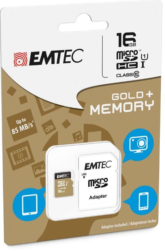 16GB Emtec Micro SD Card Gold+ (Class 10) image