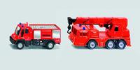 Siku: Mercedes Firefighter Truck and Unimog Crane Set