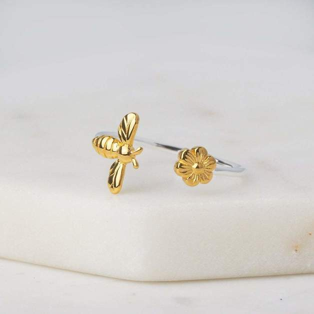 Midsummer Star: Meant To Bee Ring - 8 / Silver with Gold Detail
