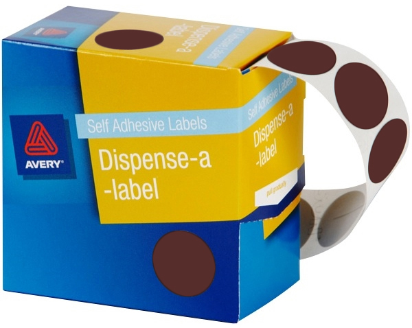 Avery Brown 24mm Diameter Circle Dispenser Labels Pkt500