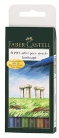 Faber-Castell: Pitt Artist Pens B Landscape (Wallet of 6)