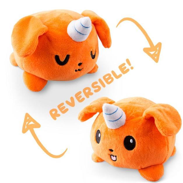 TeeTurtle: Reversible Mini Plush - Puppicorn (Orange)