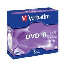 Verbatim DVD+R 4.7GB 5Pk Jewel Case 16x