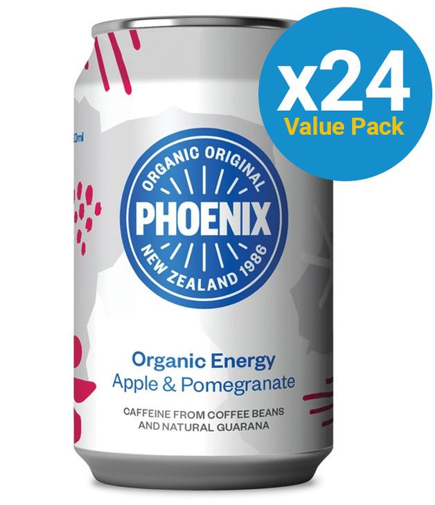 Phoenix Organic Energy Apple & Pomegranate 320ml 24 Pack