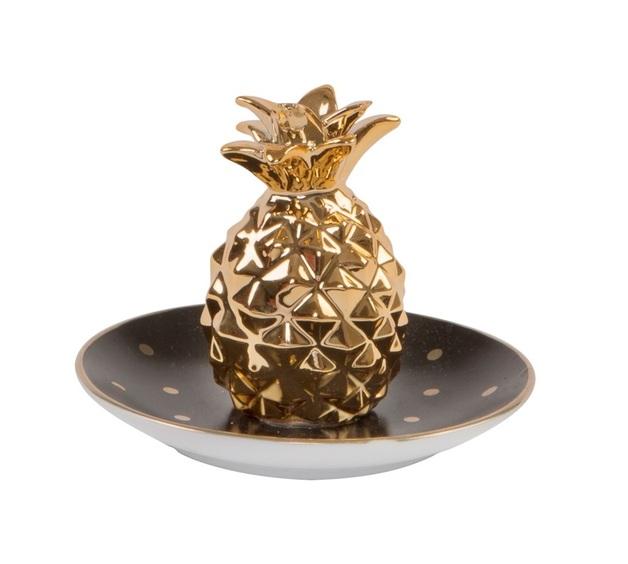 Polka Dot Pineapple - Trinket Dish (Black & Gold)