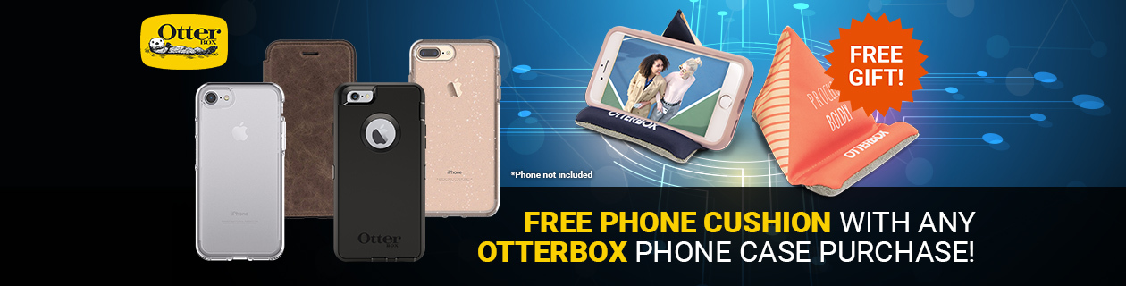 Buy Any Otterbox Phone case And Receive A Free Phone Cushion!