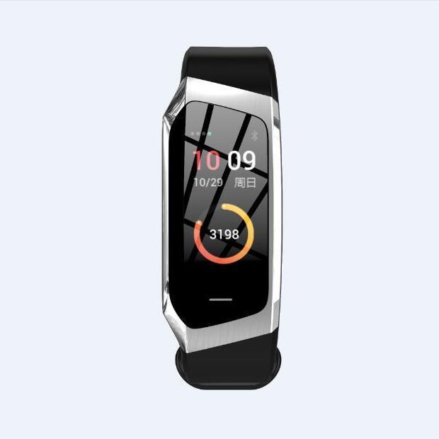 Waterproof Wristband Blood Pressure Fitness Smart Bracelet - Black Silver
