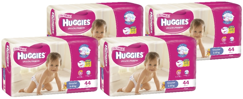 Huggies Ultra Dry Nappies Bulk Shipper - Crawler Girl 6-11kg (176) image