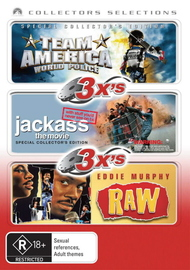 3x's - Team America - World Police / Jackass - The Movie / Eddie Murphy - Raw (Collectors Selections) (3 Disc Set) on DVD image
