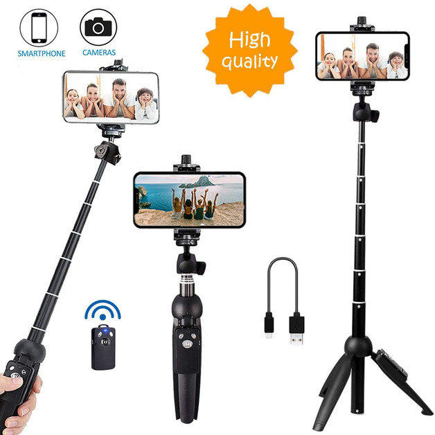 Portable Selfie Stick Phone Tripod With Wireless Remote Shutter - Black