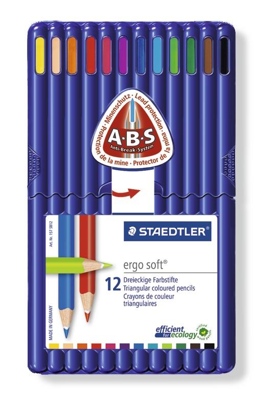Staedtler - Ergo Soft 157 Triangular Coloured Pencil 12 Pack Wallet