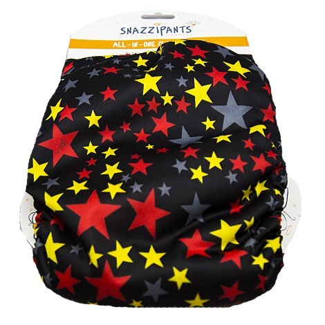 Snazzipants All In One Reusable Nappy - Black Stars image
