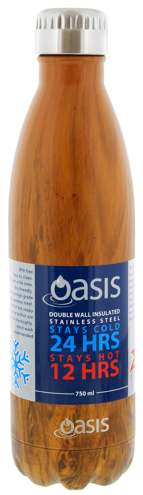 Oasis Insulated Stainless Steel Water Bottle - Teak (750ml) image