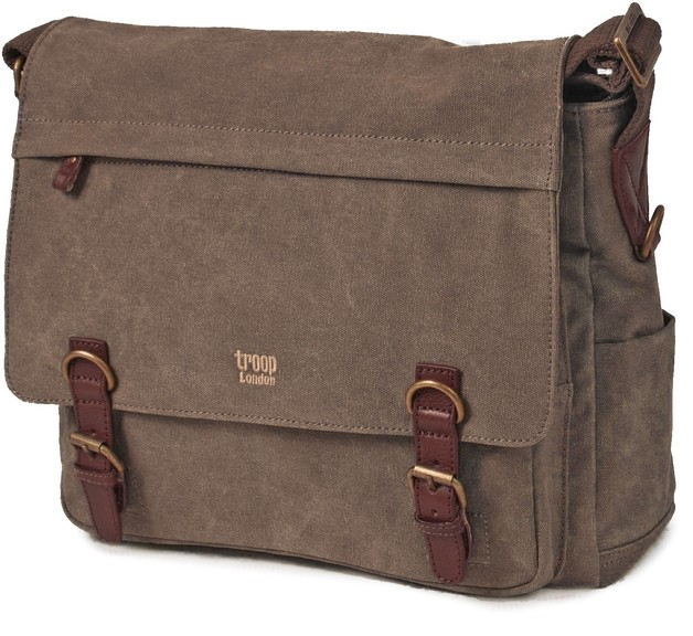 Troop London: Classic Laptop Messenger Bag - Brown