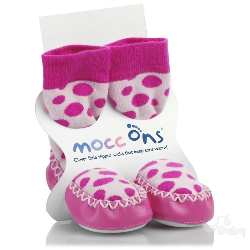 Mocc Ons Designer Moccs - Pink Spot (18-24 months) image