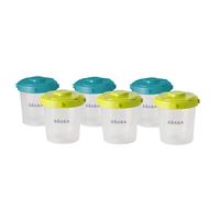 Beaba Portions Food Jars - Set of 6 (200ml) (Assorted Colours)