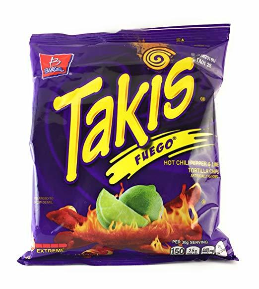 Takis Fuego Hot Chili Pepper & Lime Tortilla Chips (110g)