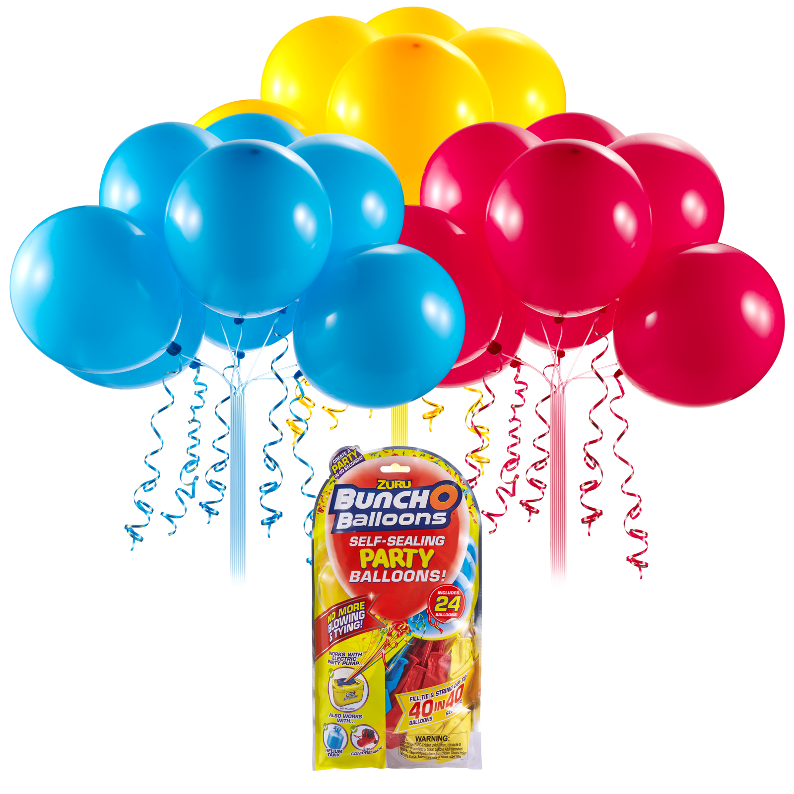 Bunch O' Balloons: Self Sealing Party Balloons - (24 x Red/Blue/Yellow) image