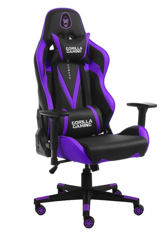 Gorilla Gaming Commander Elite Chair - Black & Purple for