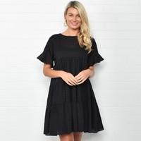 Adorne: Piper Frill Dress Black - M/L image