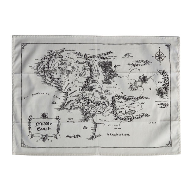 Lord Of The Rings: Middle Earth Map Tea Towel