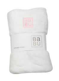 Babu: Baby Velour Towel - Pink Stitch