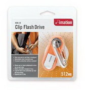Imation USB 2.0 Clip Flash Drive 512Mb Red (Drive is encased in a rubber shell)