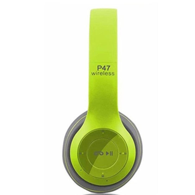 P47 Foldable Wireless Bluetooth Headphones with Microphone and FM Radio - Green