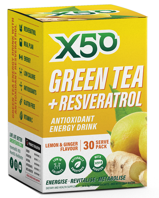 Green Tea X50 + Resveratrol - Lemon & Ginger (30 Sachets)
